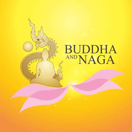 Buddha and Naga Thai Style Vector Concept.