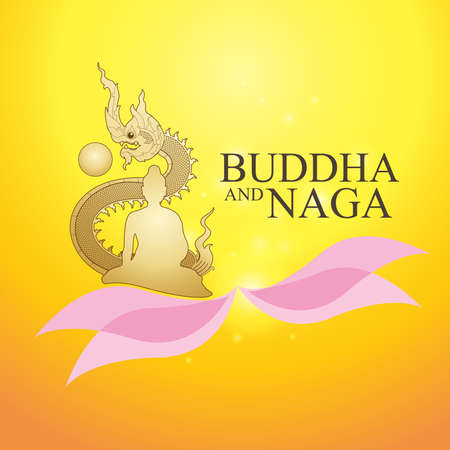 thai buddha: Buddha and Naga Thai Style Vector Concept.