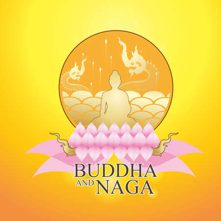 Buddha and Naga Thai Style Vector Concept.
