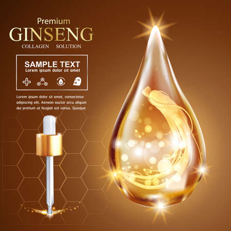 collagen: Collagen Serum Ginseng and Vitamin Background