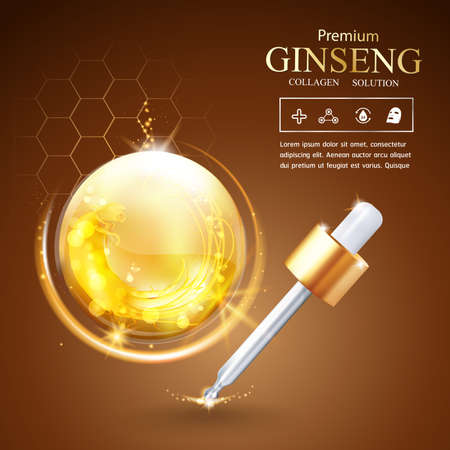 collagen: Collagen Serum Ginseng and Vitamin Background Concept Skin Care Cosmetic.
