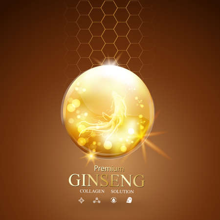 crinkle: Collagen Serum Ginseng and Vitamin Background Concept Skin Care Cosmetic.