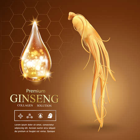 Collagen Serum Ginseng and Vitamin Background Concept Skin Care Cosmetic.