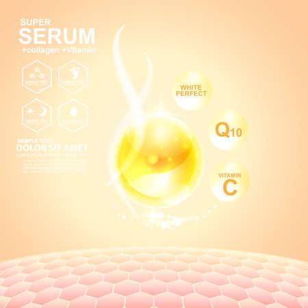 Sérum de collagène et des Soins de vitamine Fond Concept peau cosmétique. Vecteurs