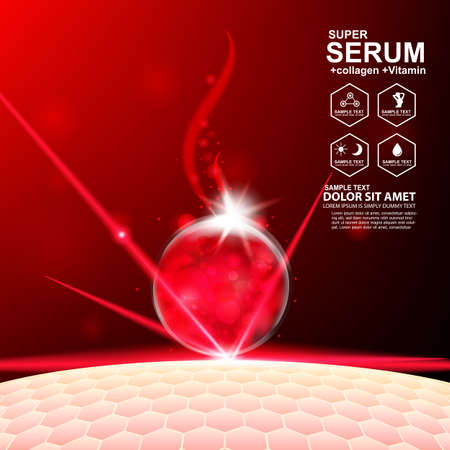 Collagen Serum and Vitamin Background Concept Skin Care Cosmetic. Imagens - 60554985