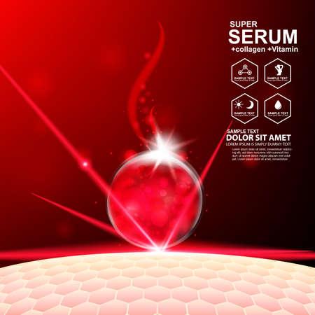 Collagen Serum and Vitamin Background Concept Skin Care Cosmetic. Ilustração