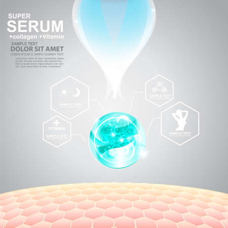 Collagen Serum and Vitamin Background Concept Skin Care Cosmetic. Ilustracja