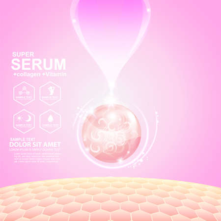 serum: Collagen Serum and Vitamin Background Concept Skin Care Cosmetic. Illustration