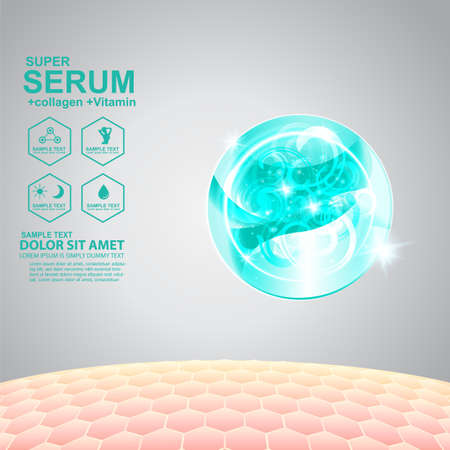 Collagen Serum and Vitamin Background Concept Skin Care Cosmetic. Stock Illustratie