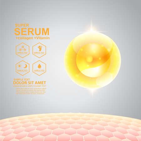 Collageen Serum en vitamine Achtergrond Concept Skin Care Cosmetic. Vector Illustratie