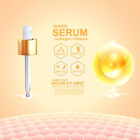 Collagen Serum und Vitamin Hintergrund Konzept kosmetische Hautpflege. Vektorgrafik
