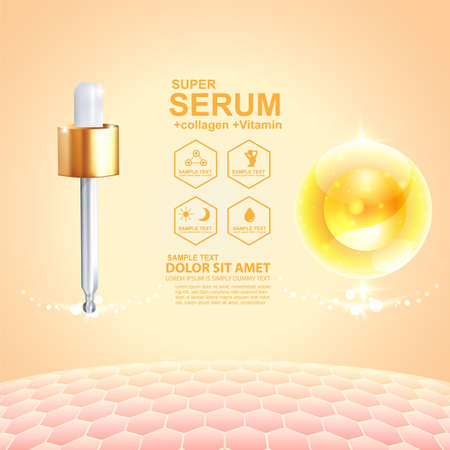 Collagen Serum and Vitamin Background Concept Skin Care Cosmetic. Vectores