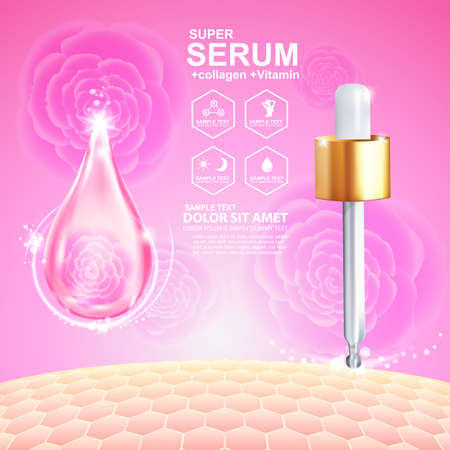 cross hair: Collagen Serum and Vitamin Background Concept Skin Care Cosmetic. Illustration