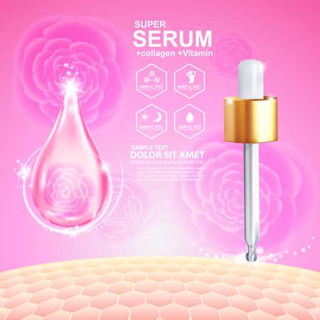 Collagene Siero e vitamina sfondo concetto di cura della pelle cosmetici.