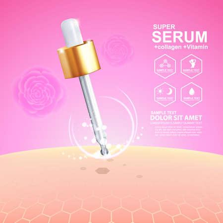 buttocks: Collagen Serum and Vitamin Background Concept Skin Care Cosmetic. Illustration
