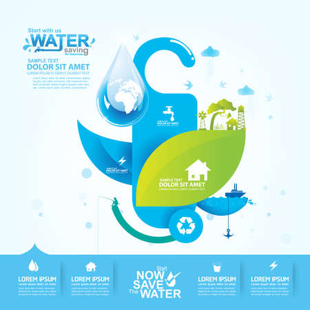 clean off: Save Water Vector Concept Saving