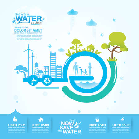 water concept: Save Water Vector Concept Saving
