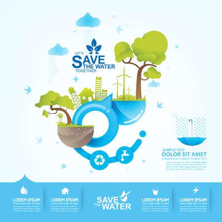 Zapisz Oszczędzanie wody Wektor Concept