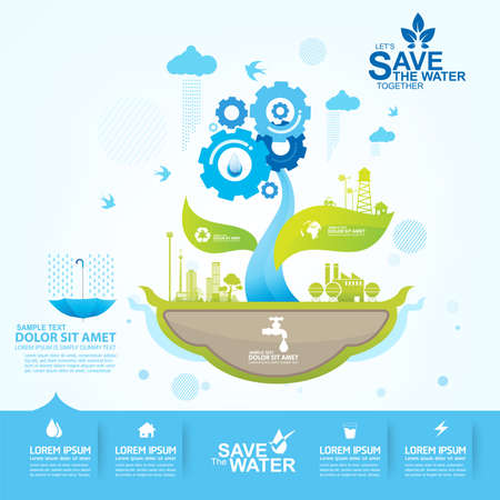 pure: Save Water Vector Concept Saving