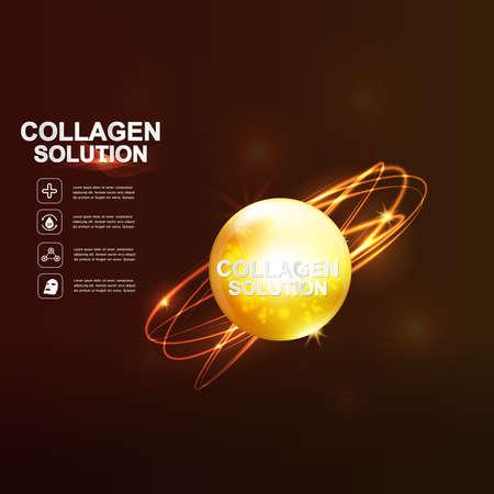 Collageen en Serum Huidverzorging Achtergrond Concept Cosmetische Skin. Vector Illustratie