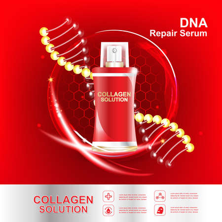 Collagen and Serum Skin Care Background Concept Cosmetic for Skin. Ilustrace
