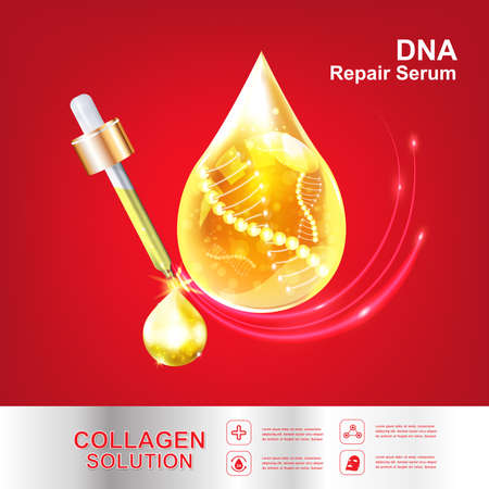 pucker: Collagen and Serum Skin Care Background Concept Cosmetic for Skin. Illustration
