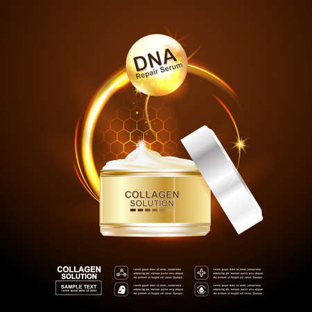 crease: Collagen and Serum Skin Care Background Concept Cosmetic for Skin. Illustration
