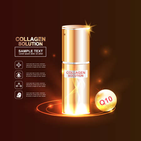 crinkle: Collagen and Serum Skin Care Background Concept Cosmetic for Skin. Illustration