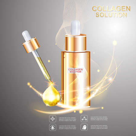 layer: Collagen and Serum Skin Care Background Concept Cosmetic for Skin. Illustration