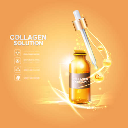 Collagen and Serum Skin Care Background Concept Cosmetic for Skin. Illustration