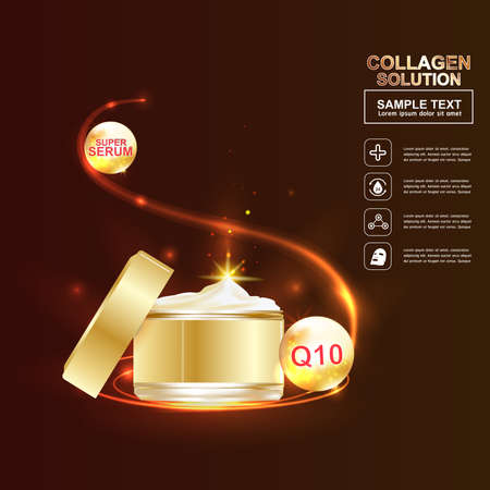 skin disease: Collagen and Serum Skin Care Background Concept Cosmetic for Skin. Illustration