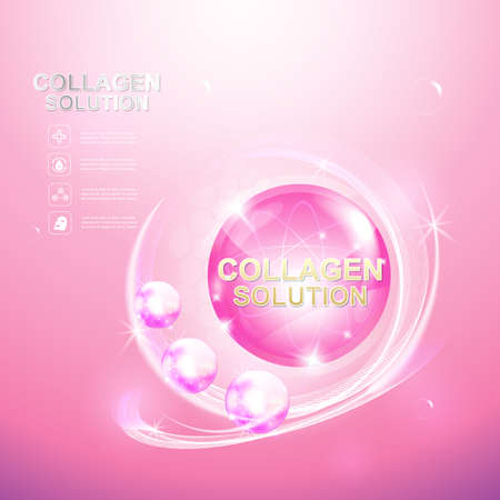collagen: Collagen Serum and Vitamin Beauty Concept Skin Care Cosmetic.