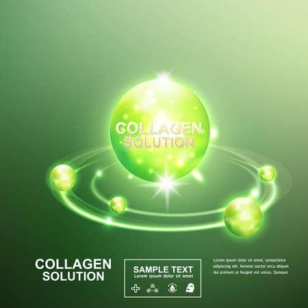 콜라겐 세럼 및 비타민 미용 컨셉 스킨 케어 화장품.