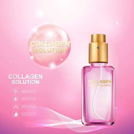 pucker: Collagen Serum and Vitamin Beauty Concept Skin Care Cosmetic.