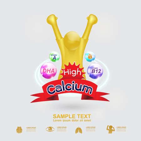 Kids Omega Calcium and Vitamin Illustration