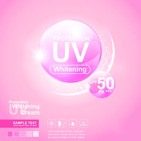 cell damage: Protection UV and Whitening Cream Skin care concept