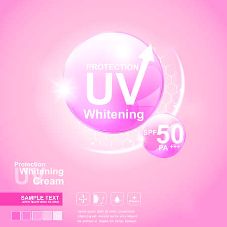 sun cream: Protection UV and Whitening Cream Skin care concept
