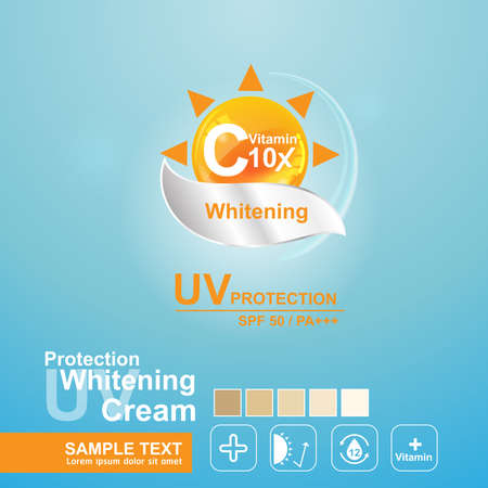 whitening: Protection UV and Whitening Cream Skin care concept