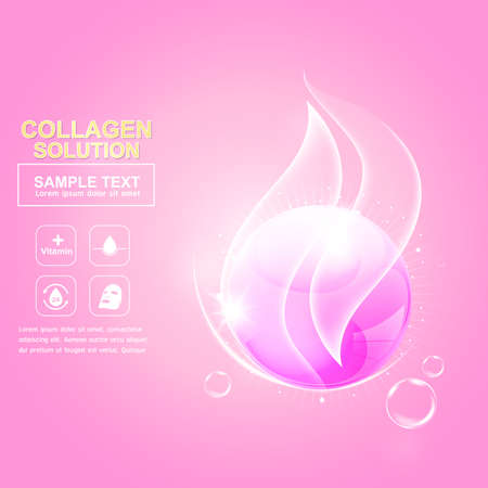 pucker: Collagen Serum and Vitamin Background Concept Skin Care Cosmetic. Illustration