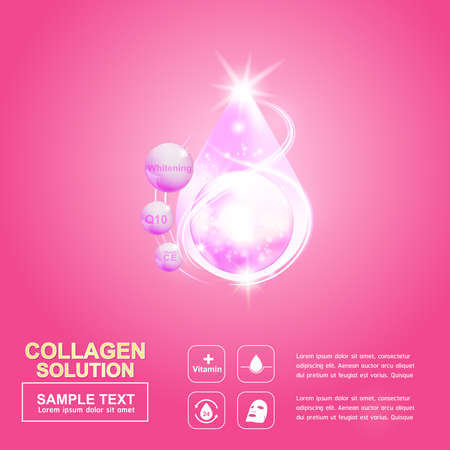 buttocks: Collagen Serum and Vitamin Background Concept Skin Care Cosmetic. Illustration