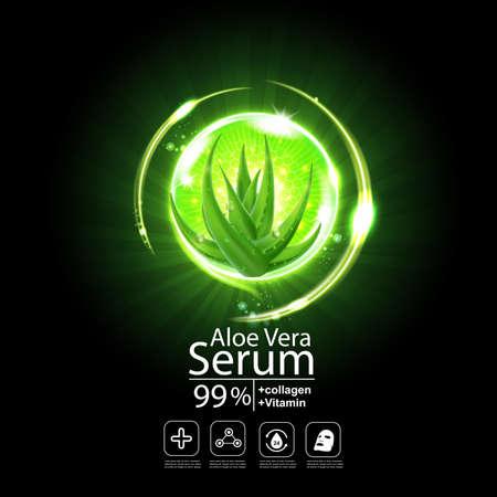 aloe vera: Collagen Aloe Vera Serum and Vitamin Background Concept Skin Care Cosmetic. Illustration