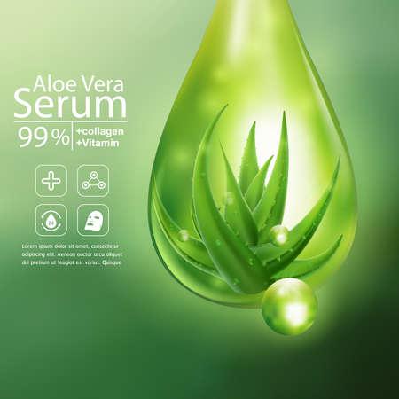 Collagen Aloe Vera Serum and Vitamin Background Concept Skin Care Cosmetic. Illustration