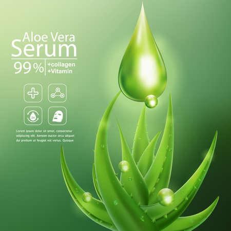 pucker: Collagen Aloe Vera Serum and Vitamin Background Concept Skin Care Cosmetic. Illustration