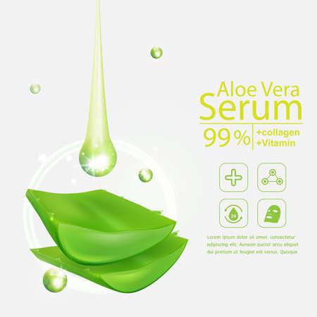 crinkle: Collagen Aloe Vera Serum and Vitamin Background Concept Skin Care Cosmetic. Illustration