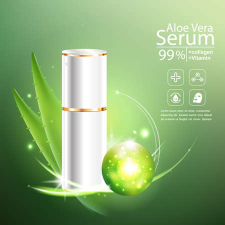 crinkle: Collagen Aloe Vera Serum and Vitamin Background Concept Skin Care Cosmetic. Illustration