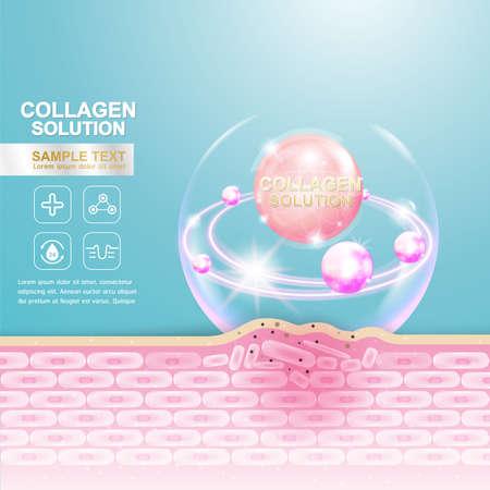 collagen: Collagen Serum and Vitamin Background Concept Skin Care Cosmetic. Illustration