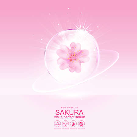 Collagen Serum Sakura and Vitamin Background Concept Skin Care Cosmetic.