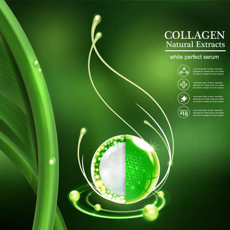 Collagen Serum and Vitamin Background Skin Care Cosmetic concept.