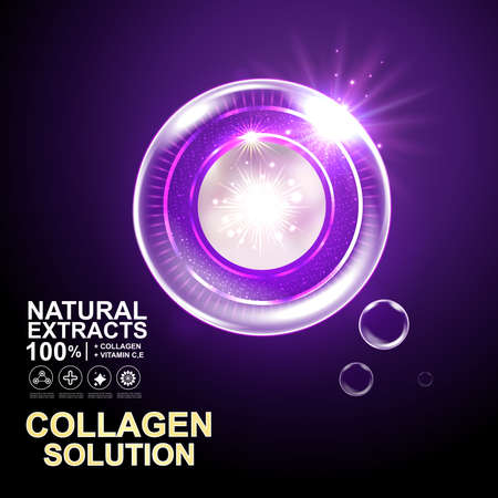 health beauty: Collagen Serum and Vitamin Background Skin Care Cosmetic concept.