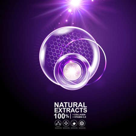 Collagen Serum und Vitamin Hintergrund kosmetische Hautpflege-Konzept.